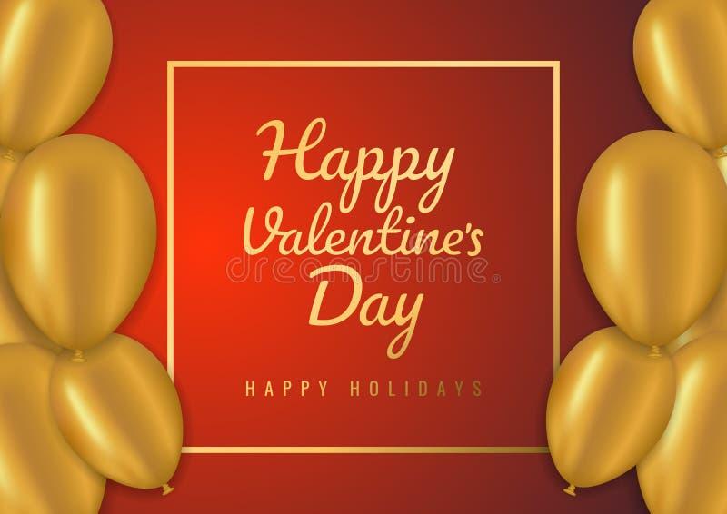 De verkoopachtergrond van de valentijnskaartendag met ballons Vector illustratie Concept voor vliegers, uitnodiging, affiches, br stock afbeeldingen
