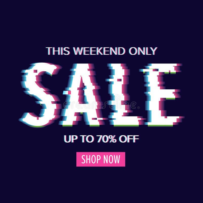 De verkoopaffiche van de Cybermaandag met glitch stijl vervormde teksten Donkere achtergrond, kortingsbanner vector illustratie