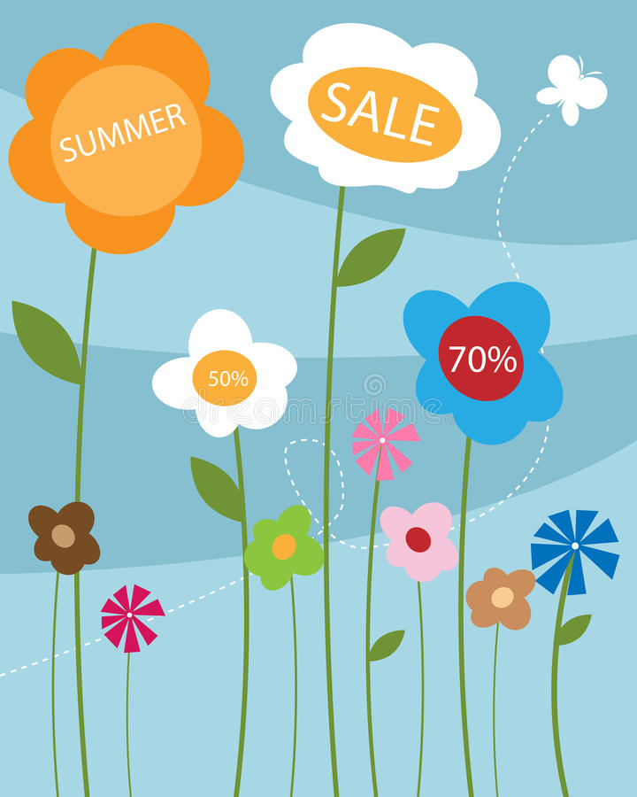De verkoopaffiche van de zomer royalty-vrije illustratie