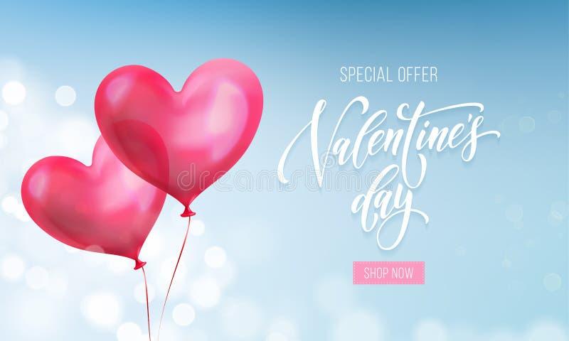 De verkoopaffiche van de valentijnskaartendag of banner van valentijnskaart rood hart op blauwe lichte patroonachtergrond Vector  vector illustratie