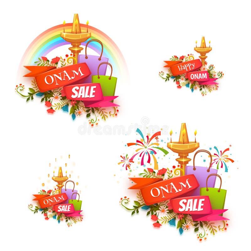 De verkoopbanner van de Onamvakantie met lint wordt geplaatst dat Vector illustratie stock illustratie