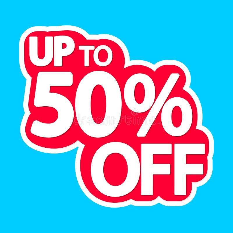 De verkoopmarkering, tot 50% weg, isoleerde sticker, afficheontwerpsjabloon, kortingsbanner, vectorillustratie stock illustratie