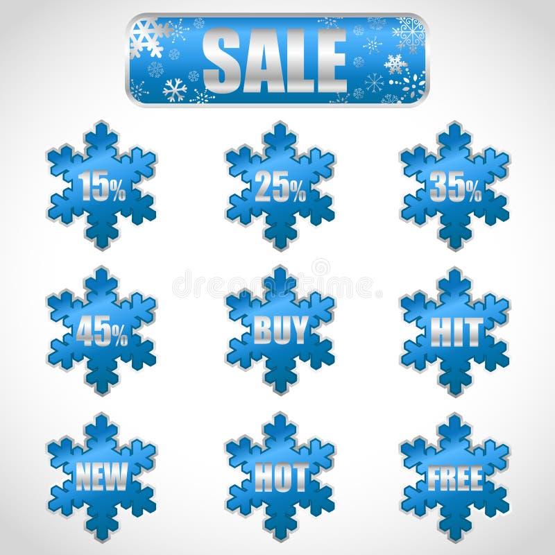 De verkoopstickers en markeringen van Kerstmis met kortingen vector illustratie
