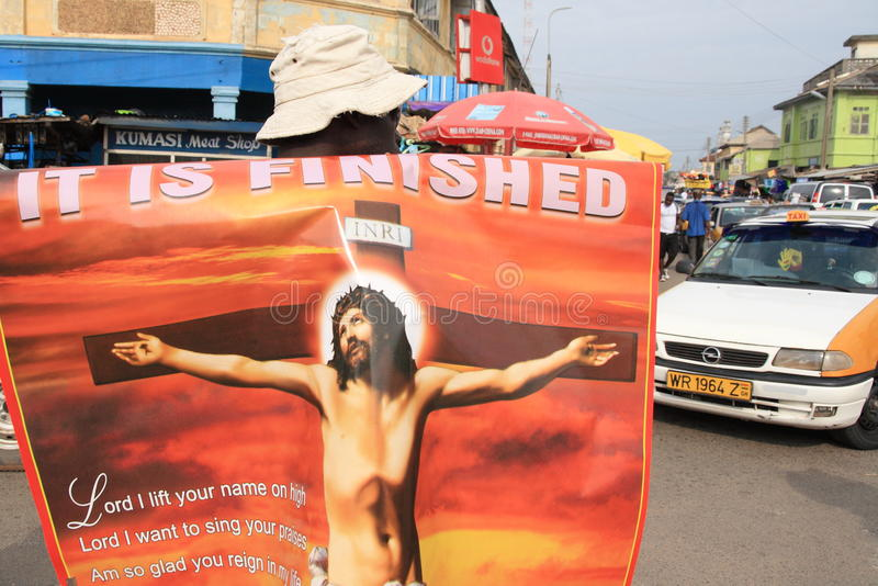 De verkopende affiches van Jesus op Afrikaanse straat royalty-vrije stock fotografie