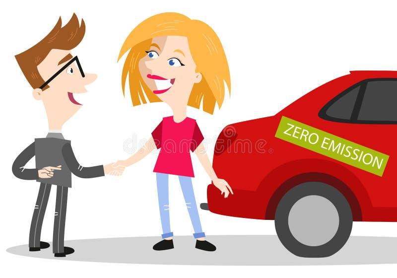 De verkoper die van de beeldverhaalauto emissieloze auto verkopen aan vrouwelijke klant terwijl het kruising van vingers royalty-vrije illustratie