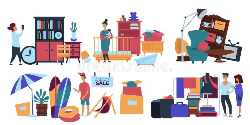 De verkoper die van de garage salepersoon oud materiaal thuis verkopen royalty-vrije illustratie