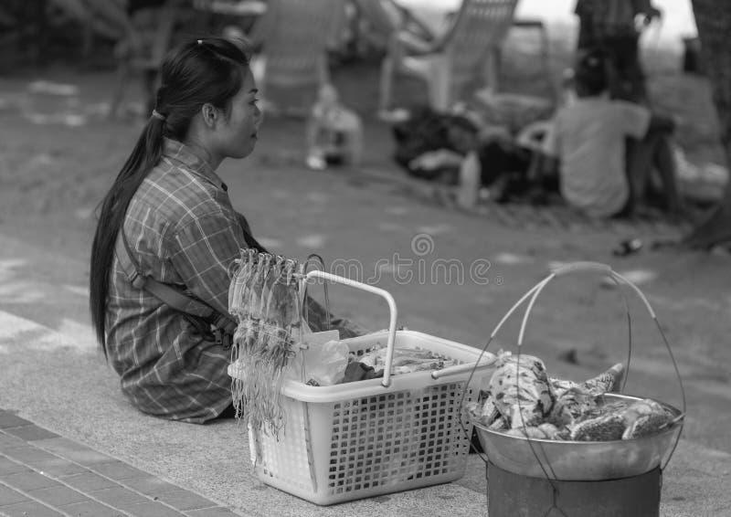 De verkoper Pattaya, Thailand van het straatvoedsel stock afbeeldingen