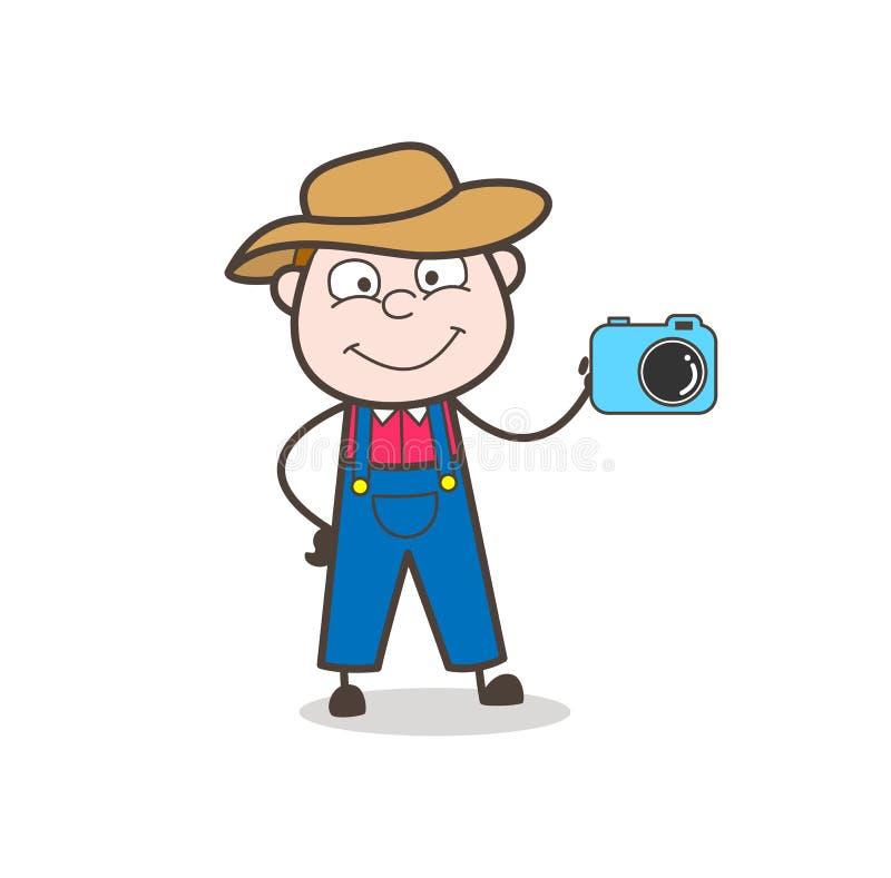 De Verkoper Showing van de beeldverhaalcowboy een Camera royalty-vrije illustratie