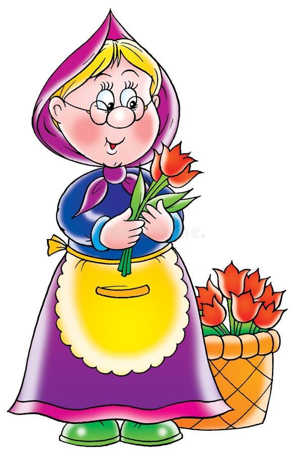 De verkoper van de bloem vector illustratie