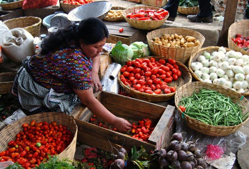 De verkoper van de vrouw in Antigua Guatemala stock fotografie