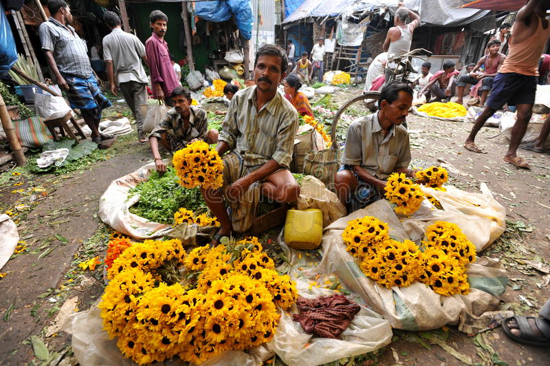 De verkopers van de bloem stock afbeeldingen