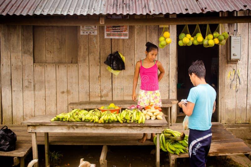 De verkopers van de fruitbanaan bij de wildernis van Amazonië stock foto's