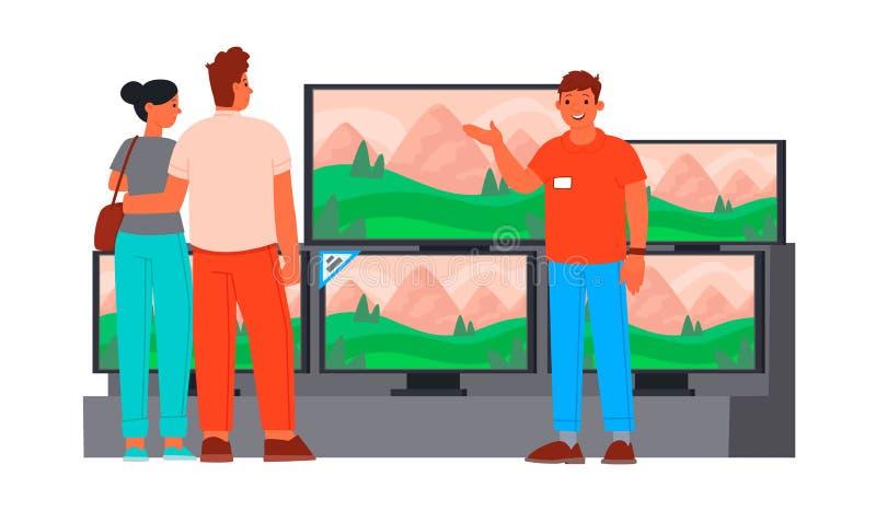 De verkopersadviseur in de elektronikaopslag van de consument toont een nieuwe TV jong paar royalty-vrije illustratie