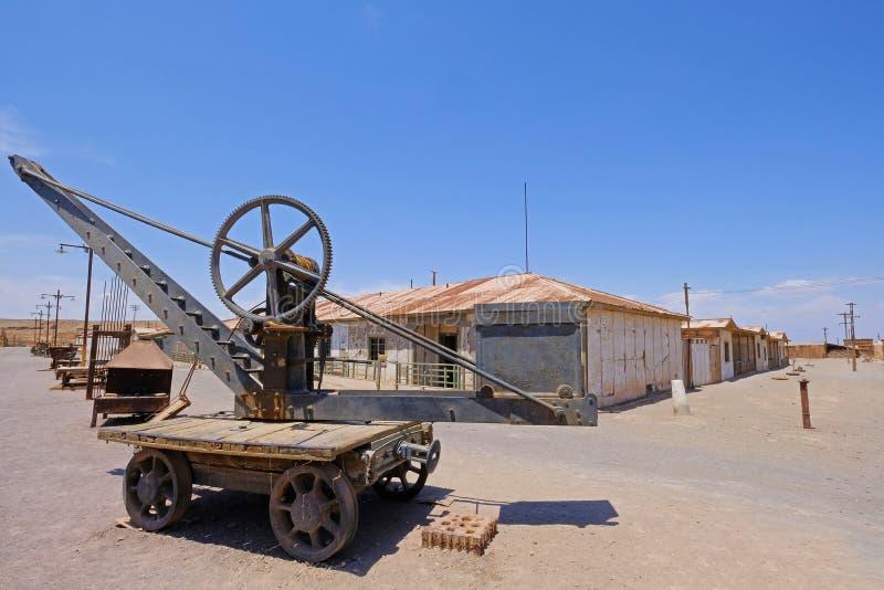 De verlaten salpeter van Humberstone en Santa Laura-werkt fabriek, dichtbij Iquique, noordelijk Chili, Zuid-Amerika stock foto
