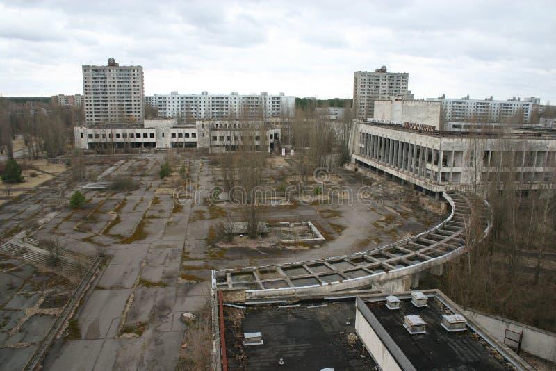 De verlaten stad van Pripyat, Tchernobyl stock foto's
