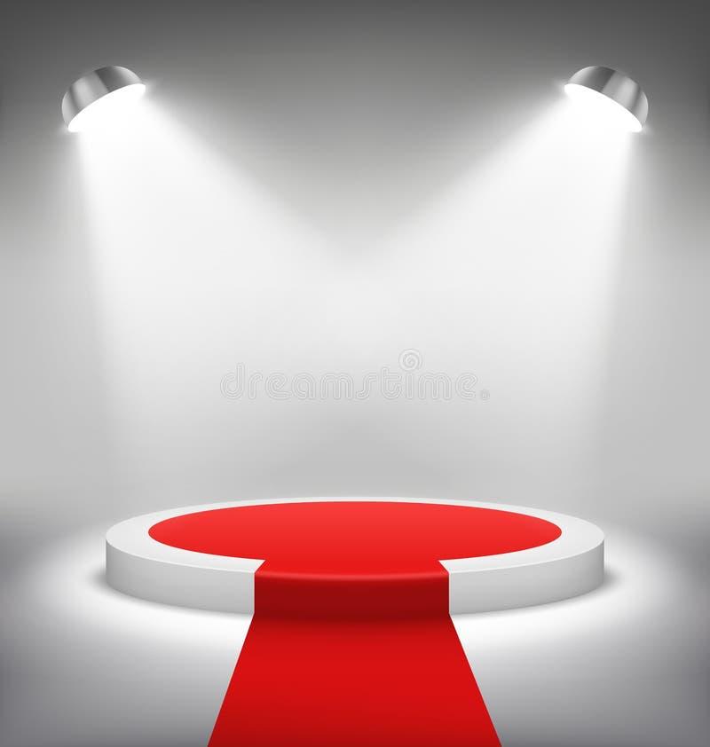 De verlichte Feestelijke Scène van het Stadiumpodium met Rood Tapijt voor Toekenning royalty-vrije illustratie