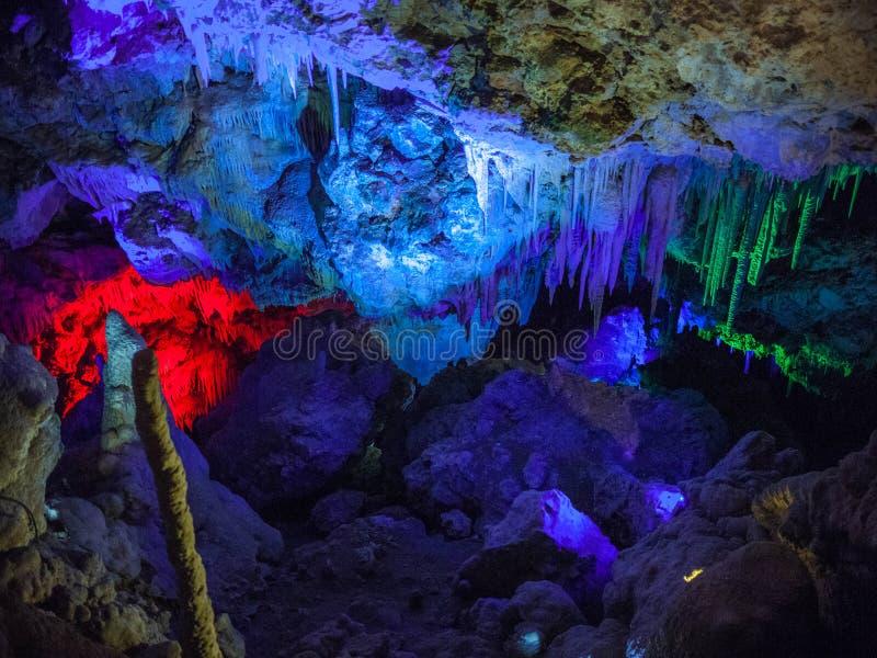De verlichte Stalactieten en de stalagmieten in Ngilgi hollen binnen Yallingup uit royalty-vrije stock foto