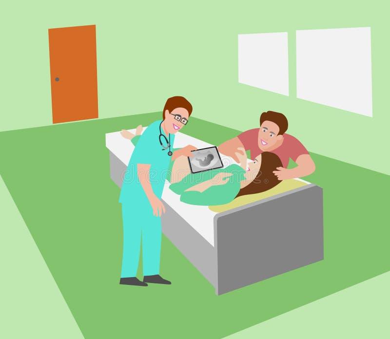 De verloskunde doet ultrasone klank ziet de baby in de buik van de vrouw op het bed met het paarwachten aan toejuiching royalty-vrije illustratie