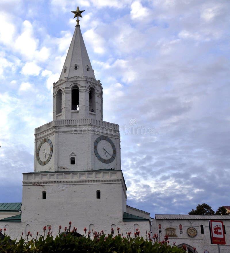 De Verlosser` s Toren in kazan het Kremlin royalty-vrije stock afbeelding
