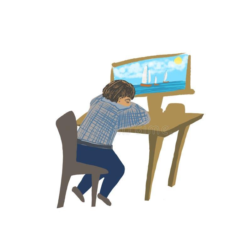 De vermoeide mens in een computer droomt over overzees royalty-vrije illustratie