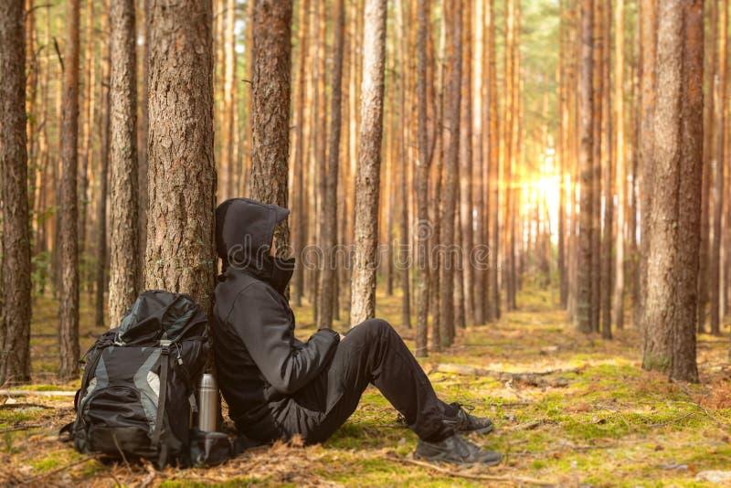 De vermoeide toerist rust bij de bosreizigersman bij halt De ruimte van het exemplaar royalty-vrije stock fotografie