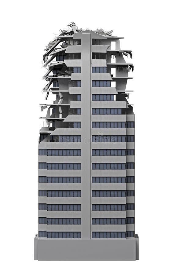 De vernietigde bouw met meerdere verdiepingen die op wit wordt geïsoleerd stock foto's