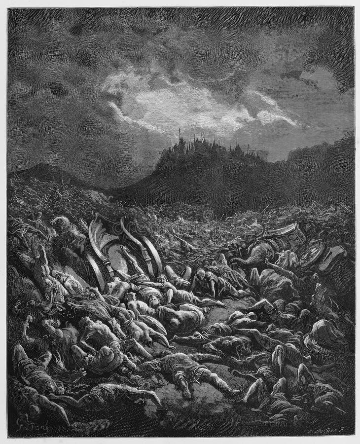 De vernietiging van de de Ammonieten en Moabites-legers stock illustratie