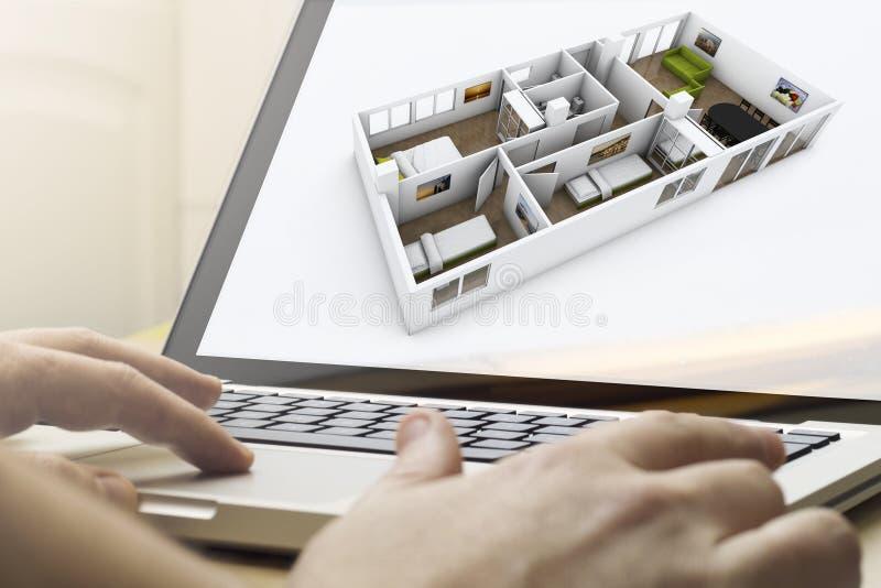 De vernieuwing van het planningshuis op laptop royalty-vrije illustratie