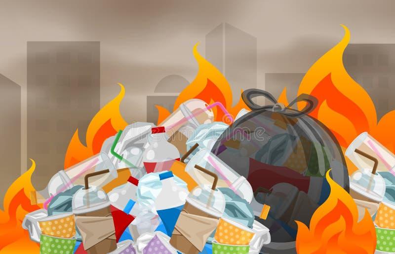 De verontreiniging van afval de plastic verbranding in de verwijdering van het stedelijke, huisvuilafval met gebrand verast, stee royalty-vrije illustratie
