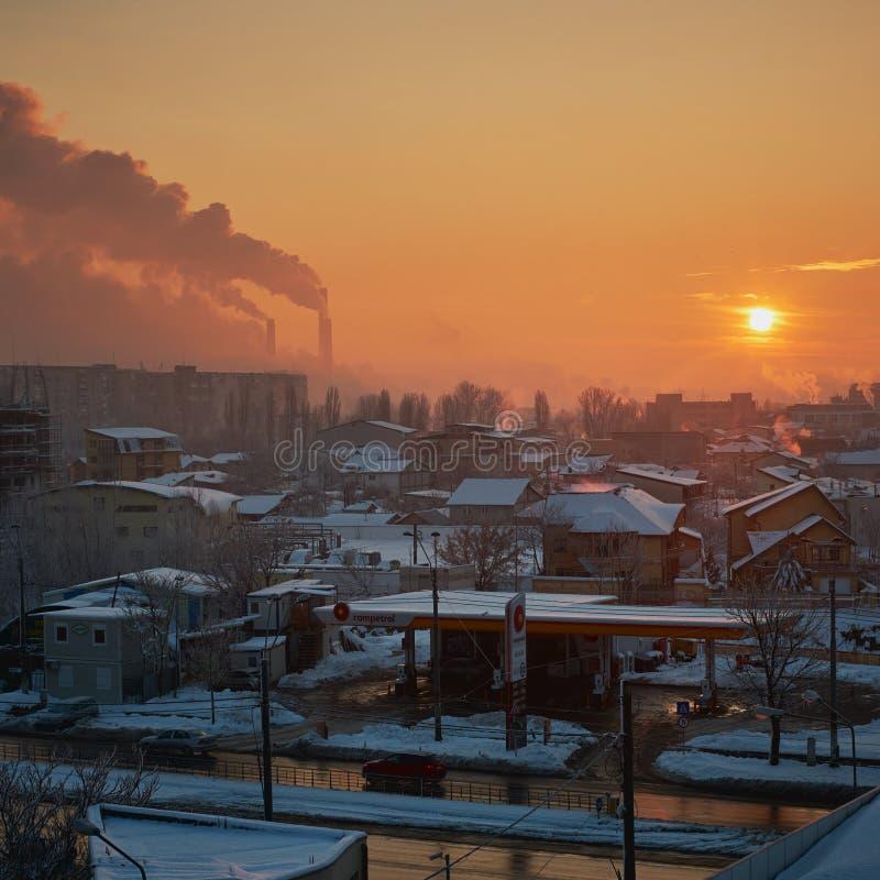 De verontreiniging van Boekarest in de ochtend royalty-vrije stock afbeeldingen