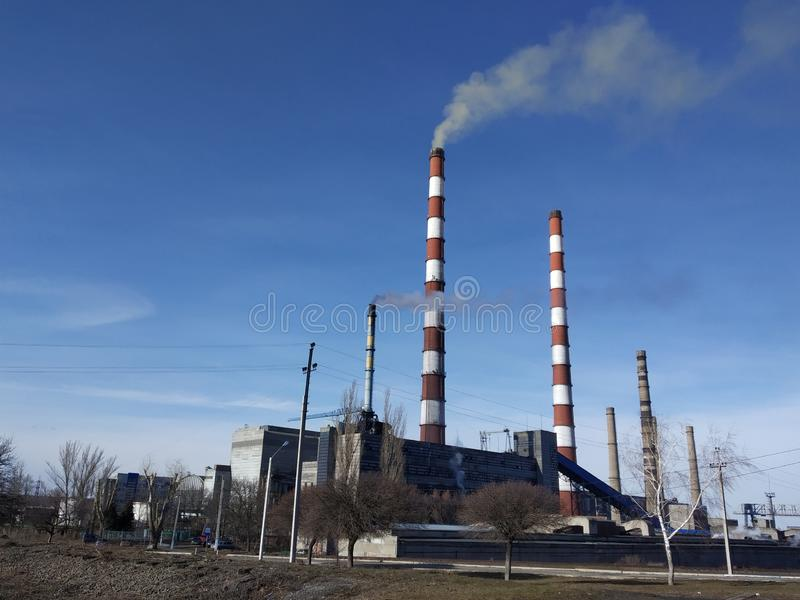 De verontreiniging van de machts thermische installatie stock foto