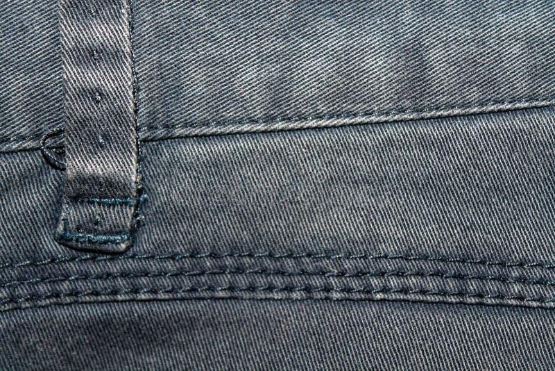 De verouderde grijze jeans rijgt Denimtextuur, macroachtergrond voor website of mobiele apparaten royalty-vrije stock fotografie