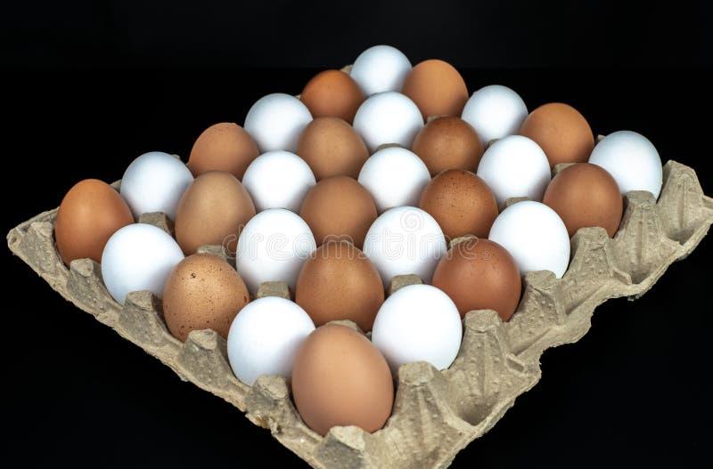 De verpakking van gele en witte kippeneieren schikte in een diagonale samenstelling op een zwarte achtergrond stock foto