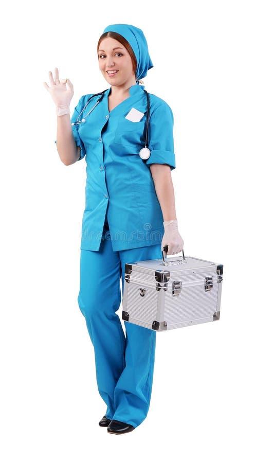 De verpleegster toont aan dat allen goed is stock foto