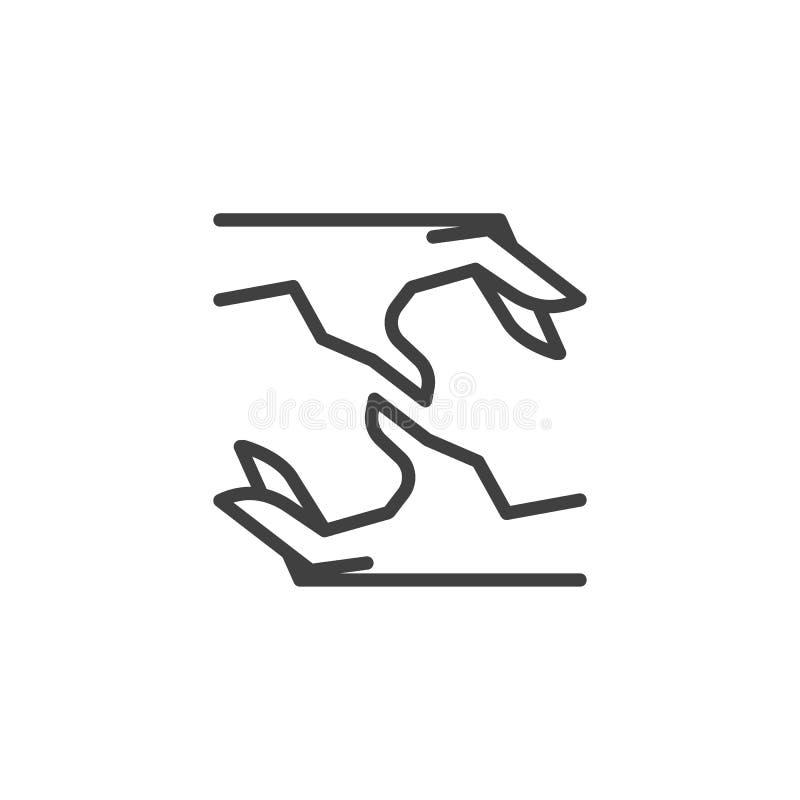 De verplichting overhandigt lijnpictogram stock illustratie