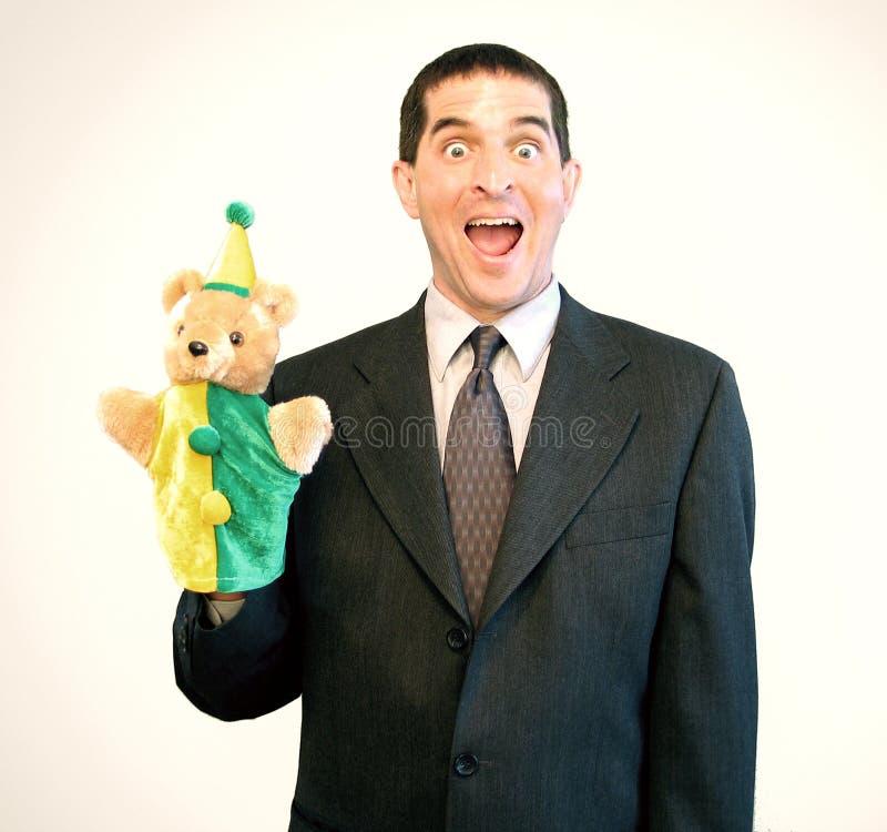 De Verrassing van de Marionet van de zakenman stock foto