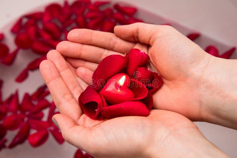 De verrassing van de valentijnskaartendag, sluit vrouw omhoog het houden rood de bloemblaadjes toenamen en hoort kaars in handen royalty-vrije stock fotografie