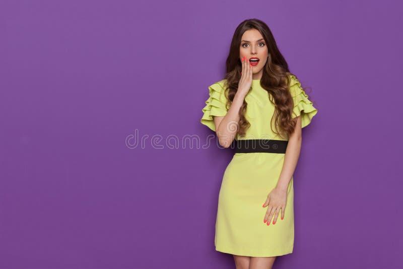De verraste Elegante Vrouw is Holdingshand op Kin stock foto's