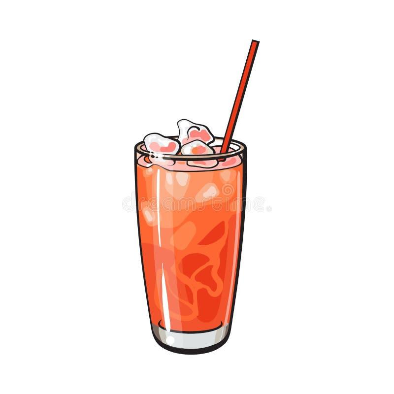 De verre grand complètement du jus de pamplemousse fraîchement serré avec de la glace illustration stock