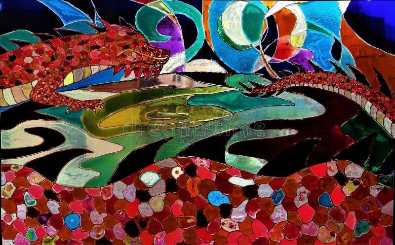 De verre souillé - dragon rouge illustration stock
