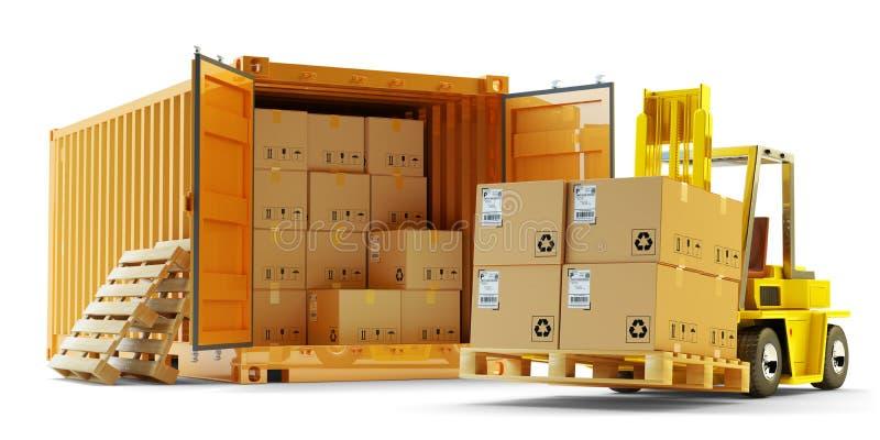 De verrichting, de verzendings, de leverings, de logistiek en de vrachtvervoersconcept van de ladingslading vector illustratie
