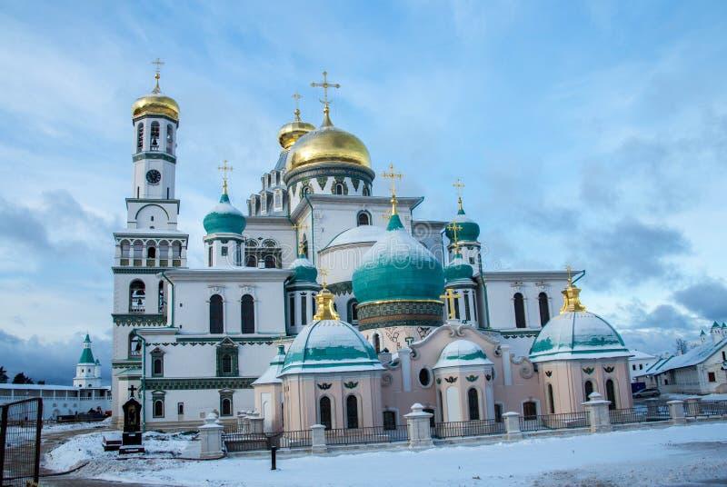 De Verrijzeniskathedraal in het Nieuwe Klooster van Jeruzalem, het gebied van Moskou, Rusland royalty-vrije stock foto