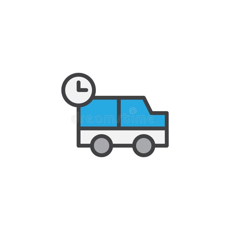 De verschepende vrachtwagen met klok vulde overzichtspictogram stock illustratie
