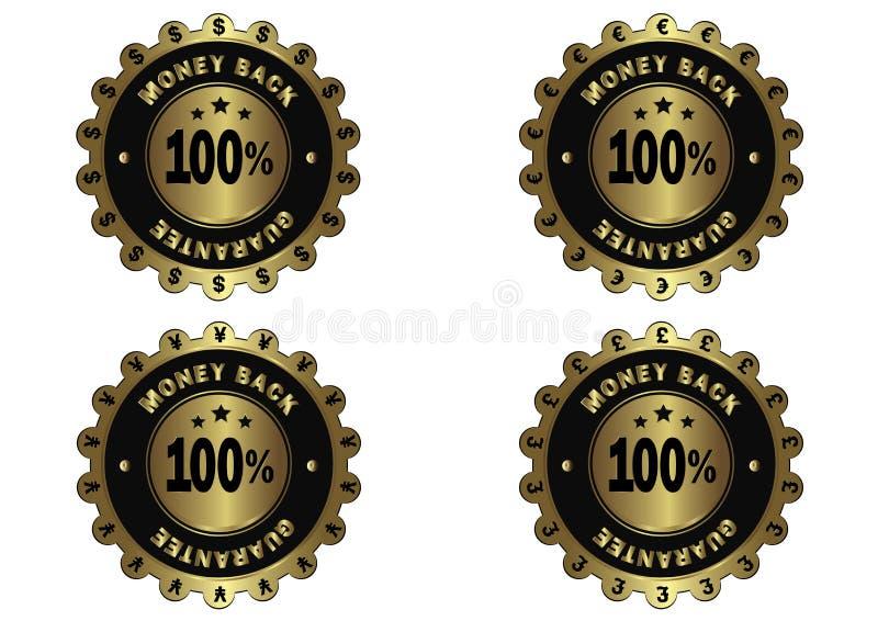De verschillende achter gouden geplaatste etiketten van het muntengeld stock illustratie
