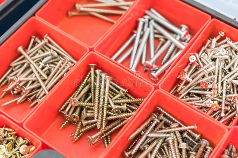 De verschillende bouten van Notenschroeven en andere die Delen in doos worden gesorteerd stock fotografie