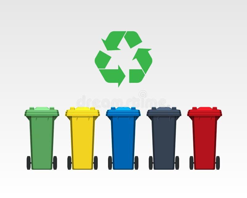 De verschillende die kleuren recycleren bakken op witte achtergrond worden geïsoleerd Vlakke stijl Vector vector illustratie