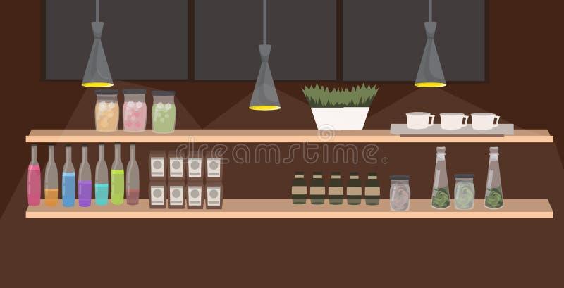 De verschillende flessen vormt de ingrediëntendranken en werktuigen van het kruiken diverse voedsel op bar van het plankenrestaur vector illustratie