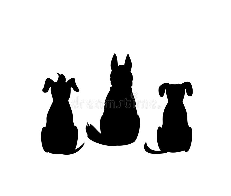 De verschillende gemengde silhouetten van de het achtereindmening van rassenhonden stock illustratie