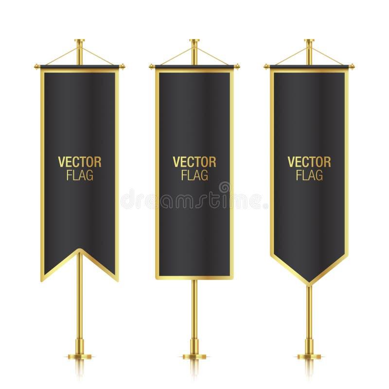 De verschillende gevormde zwarte verticale vectormalplaatjes van de bannervlag stock illustratie