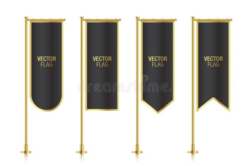 De verschillende gevormde zwarte verticale vectormalplaatjes van de bannervlag royalty-vrije illustratie